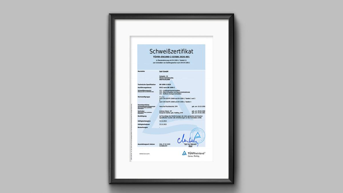 Sell erfolgreich nach DIN EN 1090-2 rezertifiziert